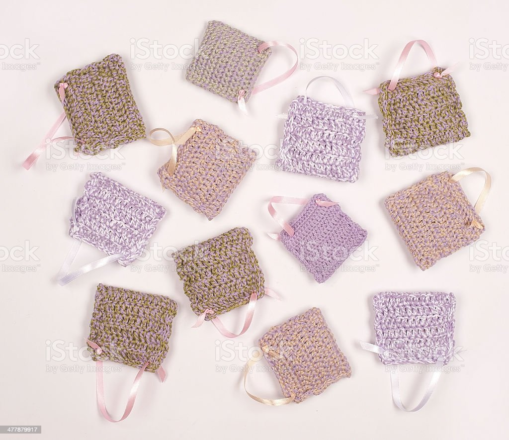 Crocheted Bags with Dried Lavender royalty-free stock photo