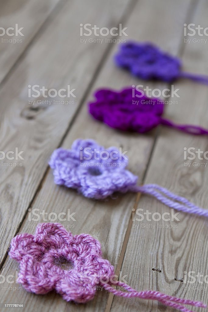 crocheted flowers royalty-free stock photo