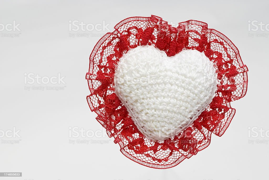 Crocheted Heart W Red Lace on White royalty-free stock photo