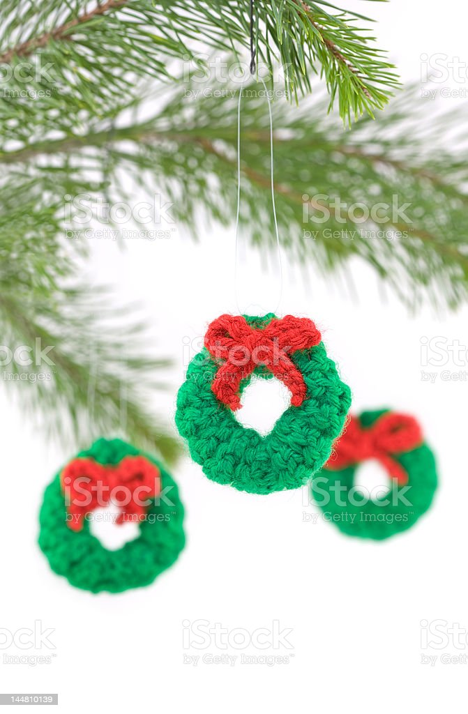 Crocheted Wreath Christmas Decorations royalty-free stock photo