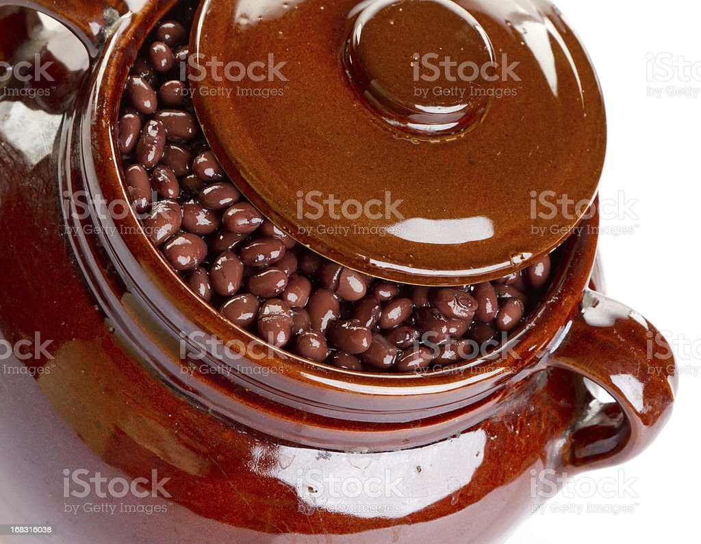 Crock of baked black beans royalty-free stock photo