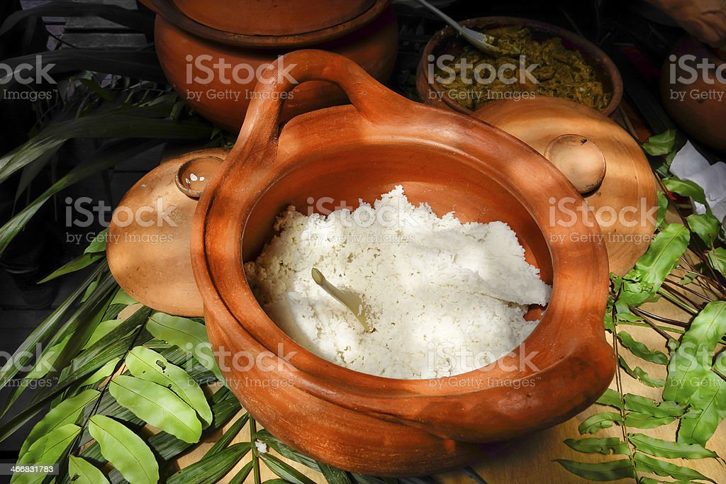 Crock of Steamed Rice royalty-free stock photo