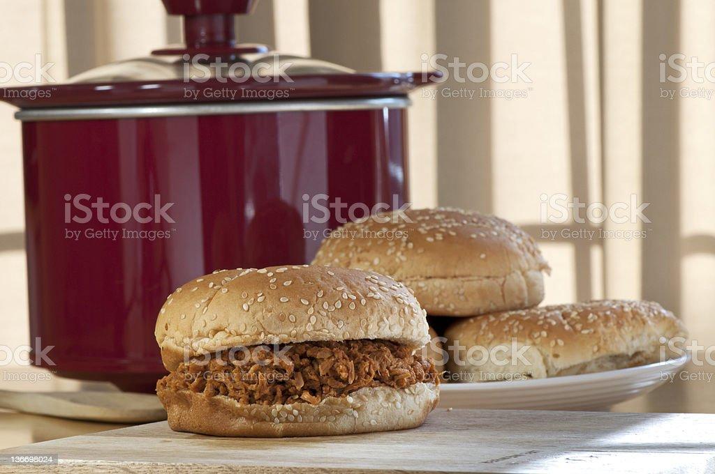 Crock-Pot BBQ Chicken Sandwich stock photo