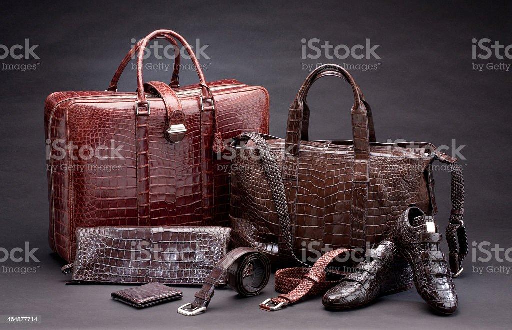 crocodile leather products stock photo