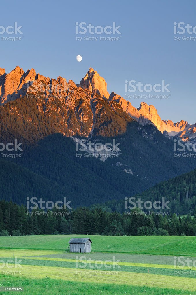 Croda Dei Baranci at Sunset (Dolomites - Italy) stock photo