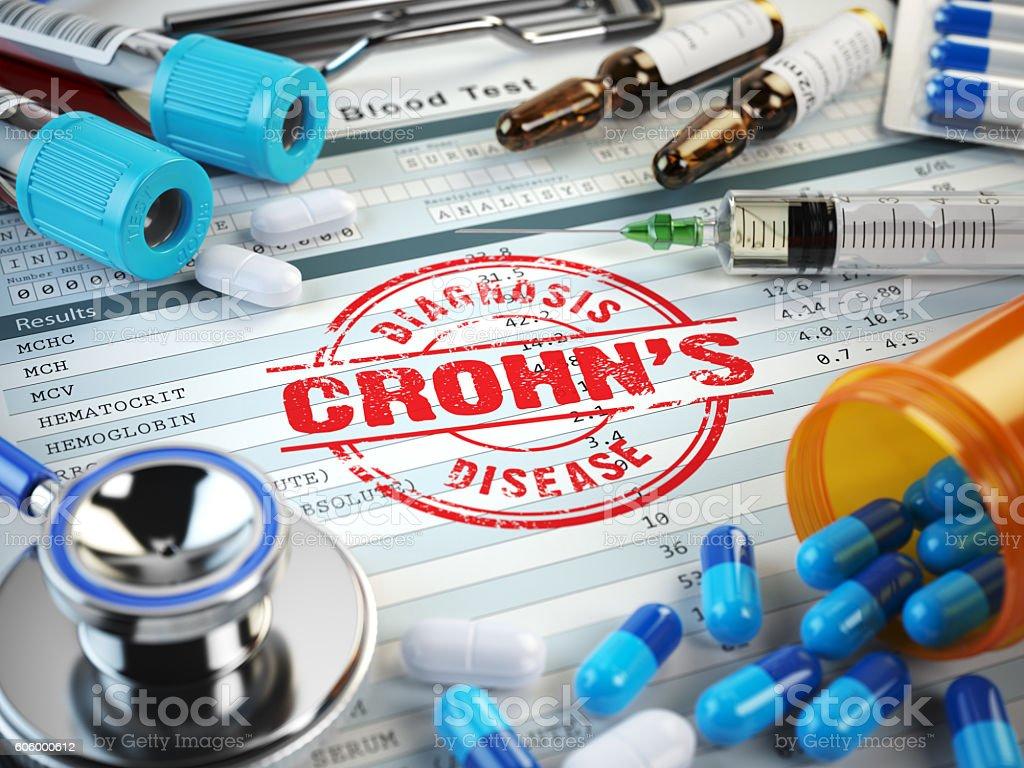Crohn´s disease diagnosis. Stamp, stethoscope, syringe, blood te stock photo