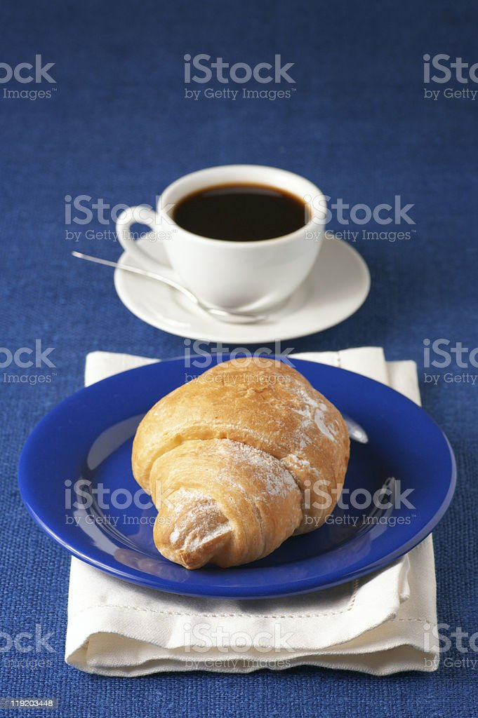 Croissant and black coffee royalty-free stock photo