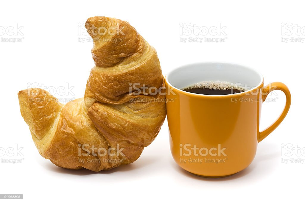 croissant and coffee isolated on white royalty-free stock photo