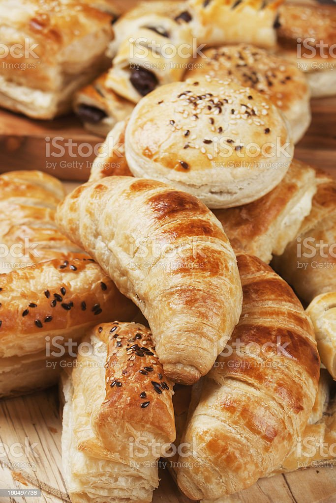Croissant and other puff pastry royalty-free stock photo