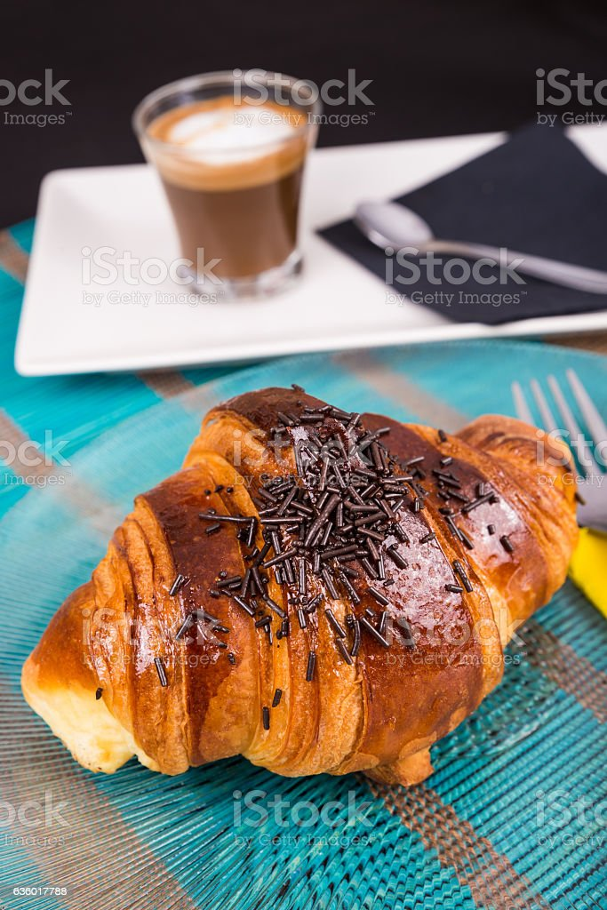 Croissant breakfast stock photo