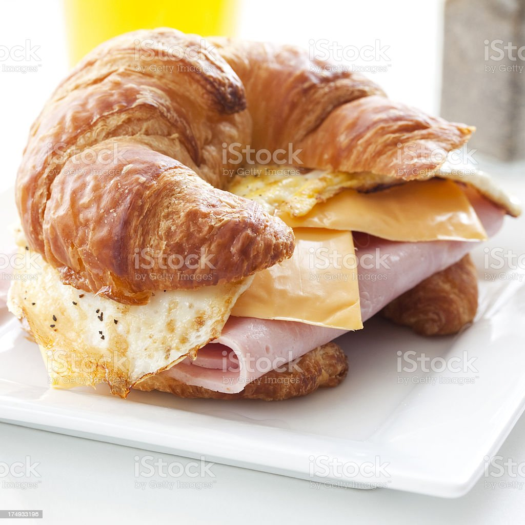 Croissant Breakfast Sandwich stock photo