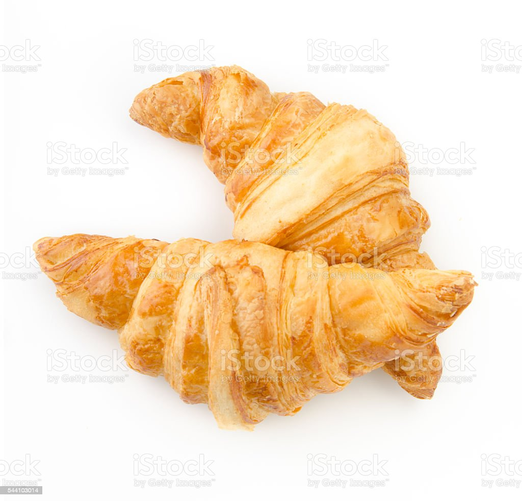 Croissant on white background. Top view. stock photo