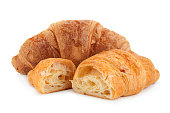 Croissant snack on white