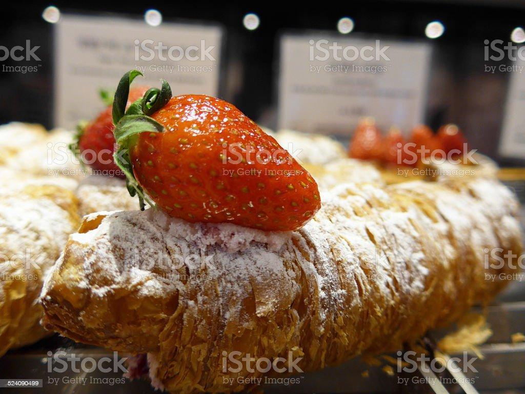 Croissant Strawberry stock photo