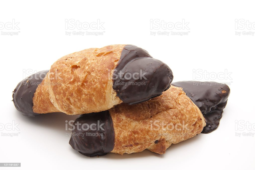 Croissant with chocolate stock photo