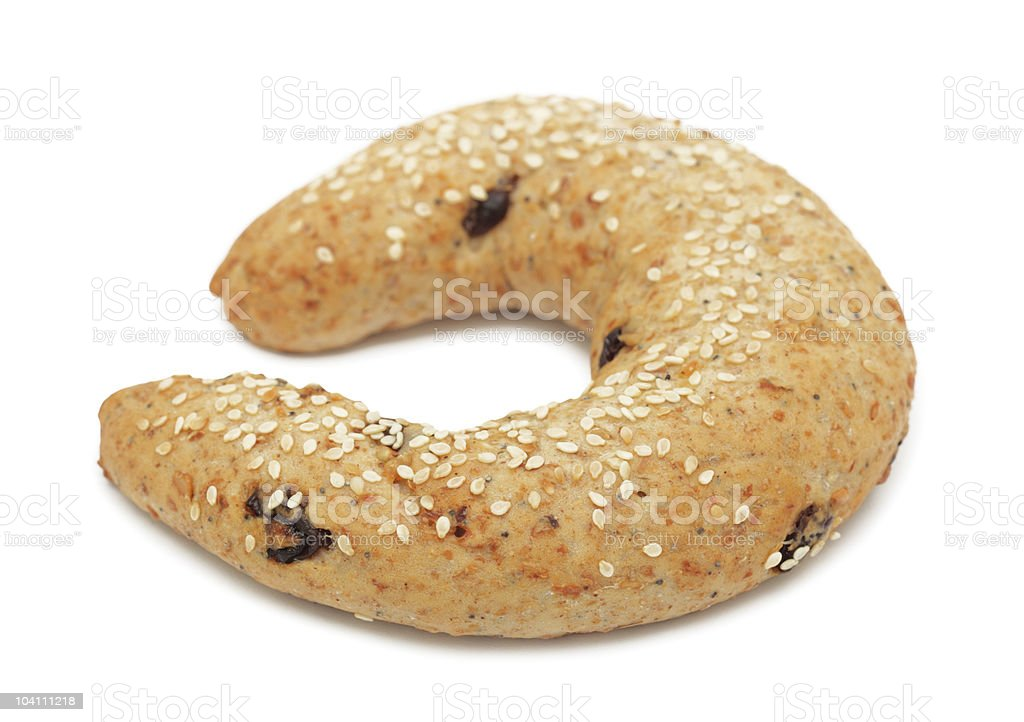 Croissant with Sesame Seeds, isolated royalty-free stock photo