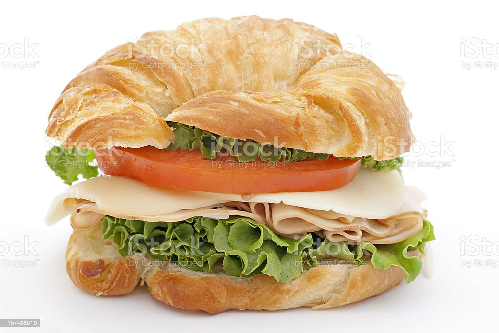 croissant with smoked turkey & cheese royalty-free stock photo