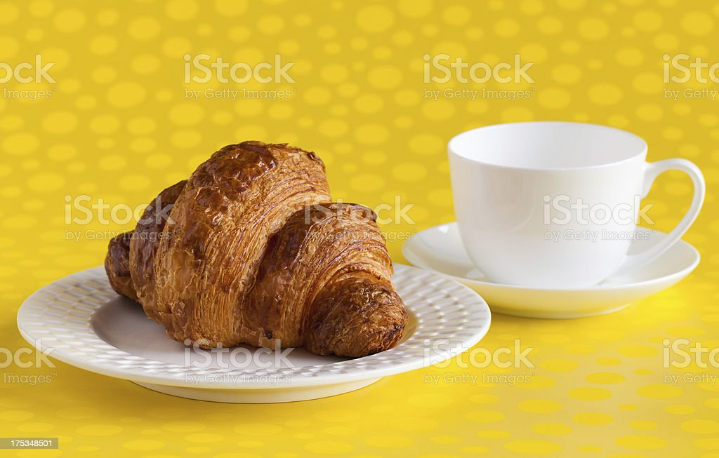 Croissant with Tea Cup royalty-free stock photo