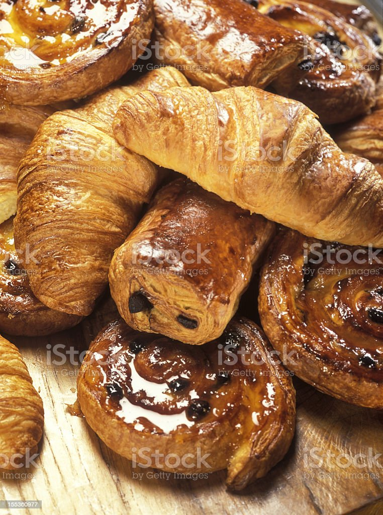 croissants and Danish pastry stock photo