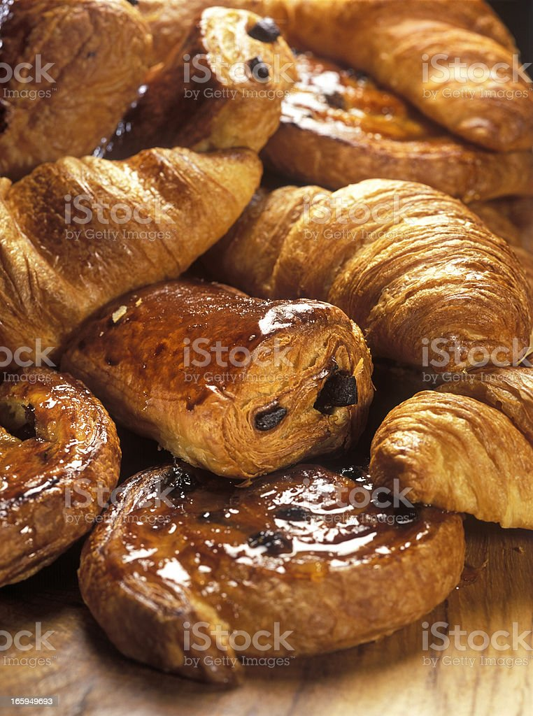 croissants and Danish pastry royalty-free stock photo