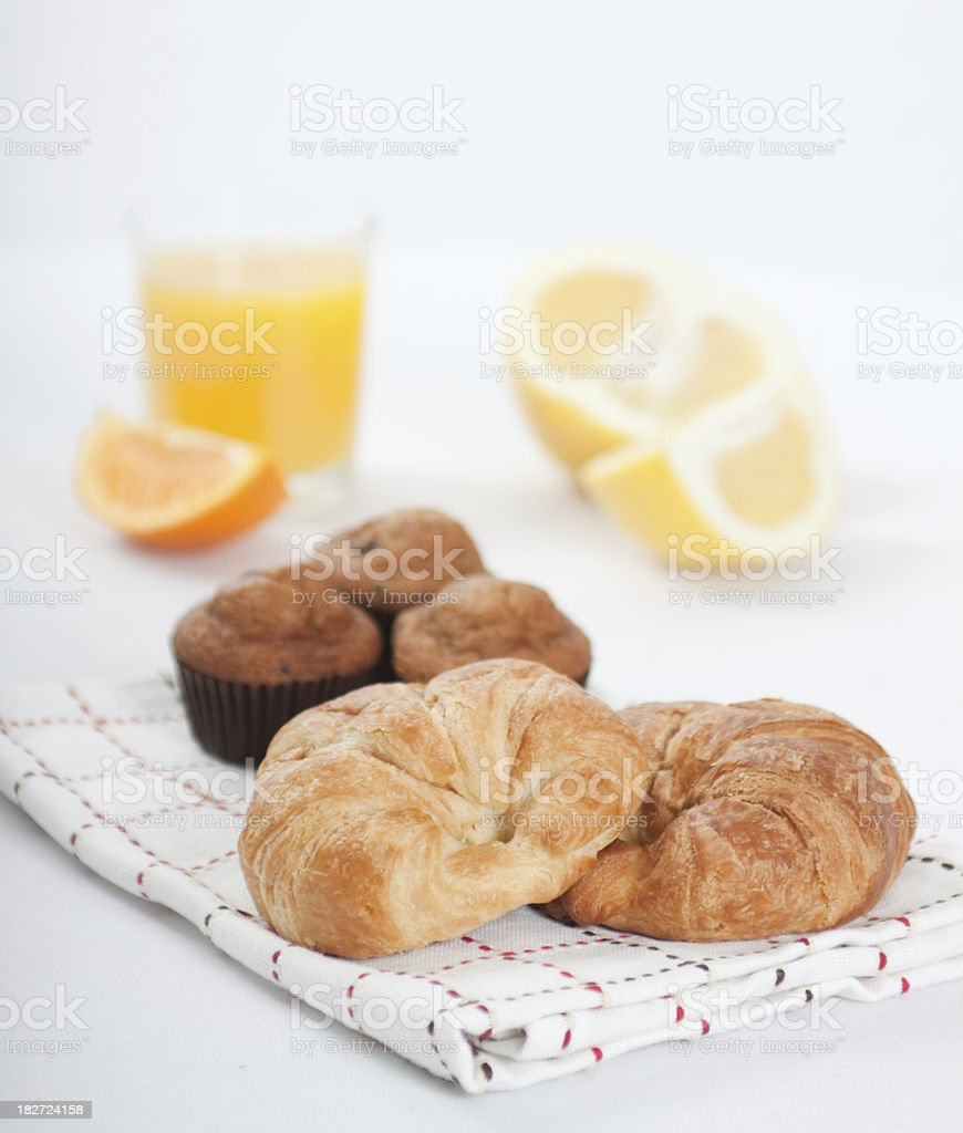 Croissants and Fruit royalty-free stock photo
