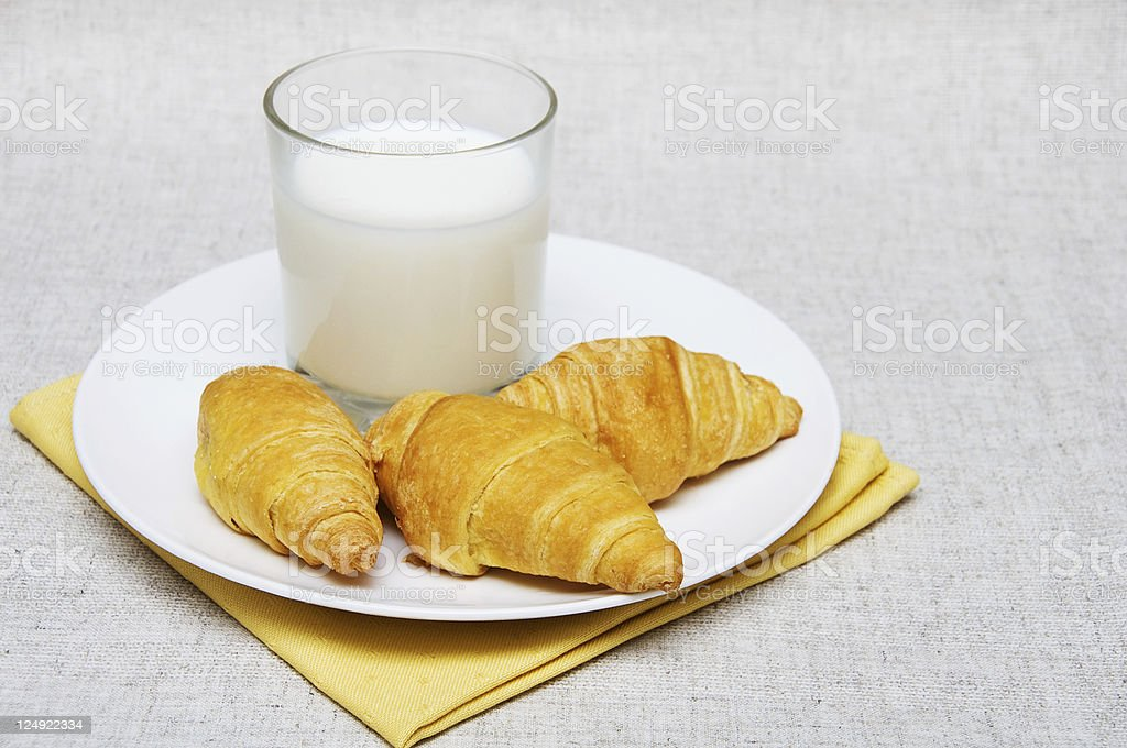 croissants  and milk royalty-free stock photo
