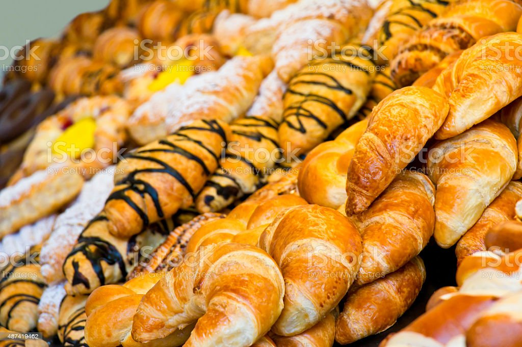 Croissants and other sweet pastries stock photo
