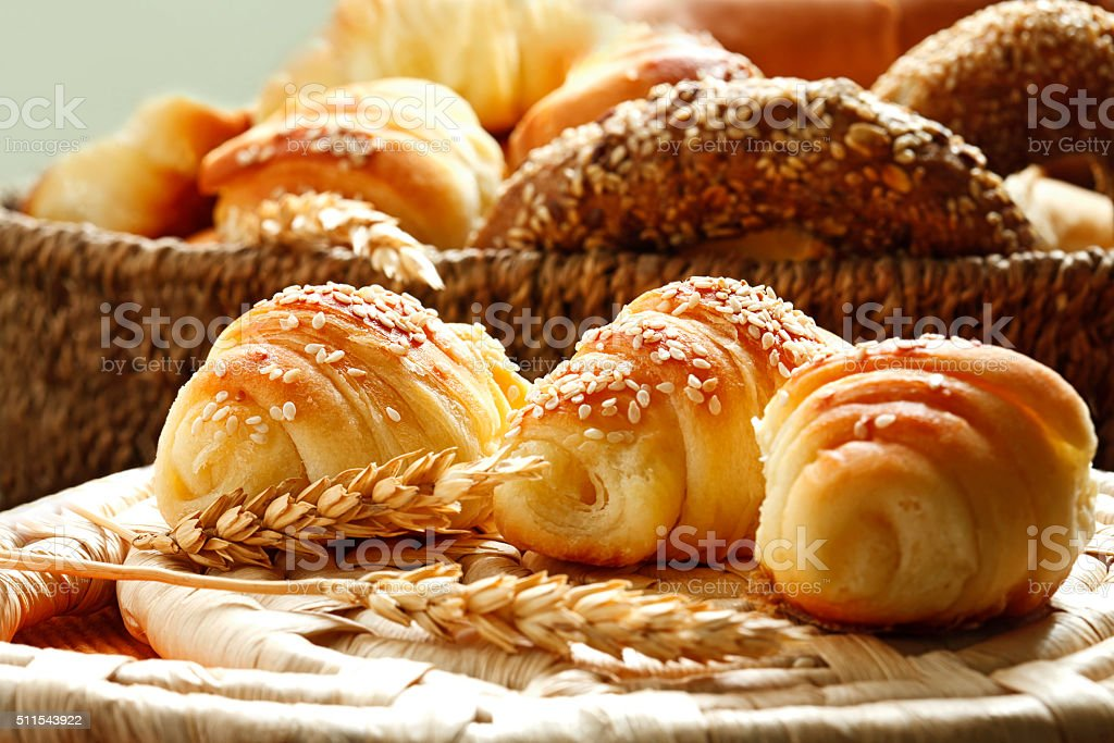 croissants and various bakery products stock photo