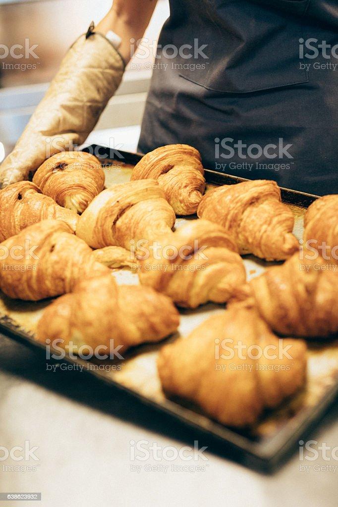Croissants at a bakery stock photo