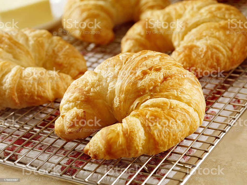 Croissants on Cooling Rack stock photo