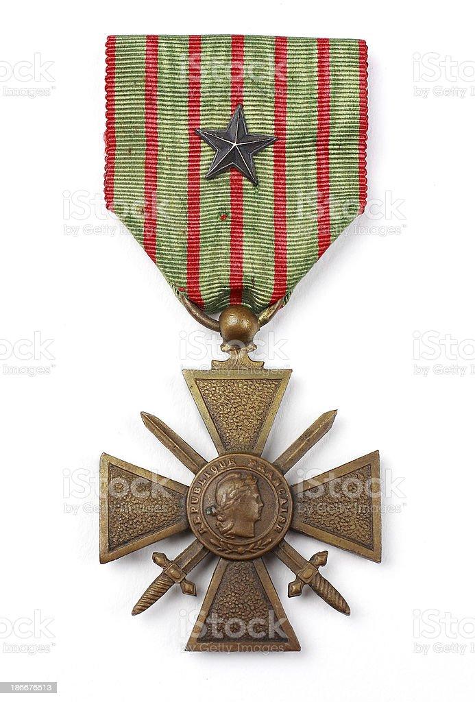 Croix de guerre avec citation ww1 stock photo