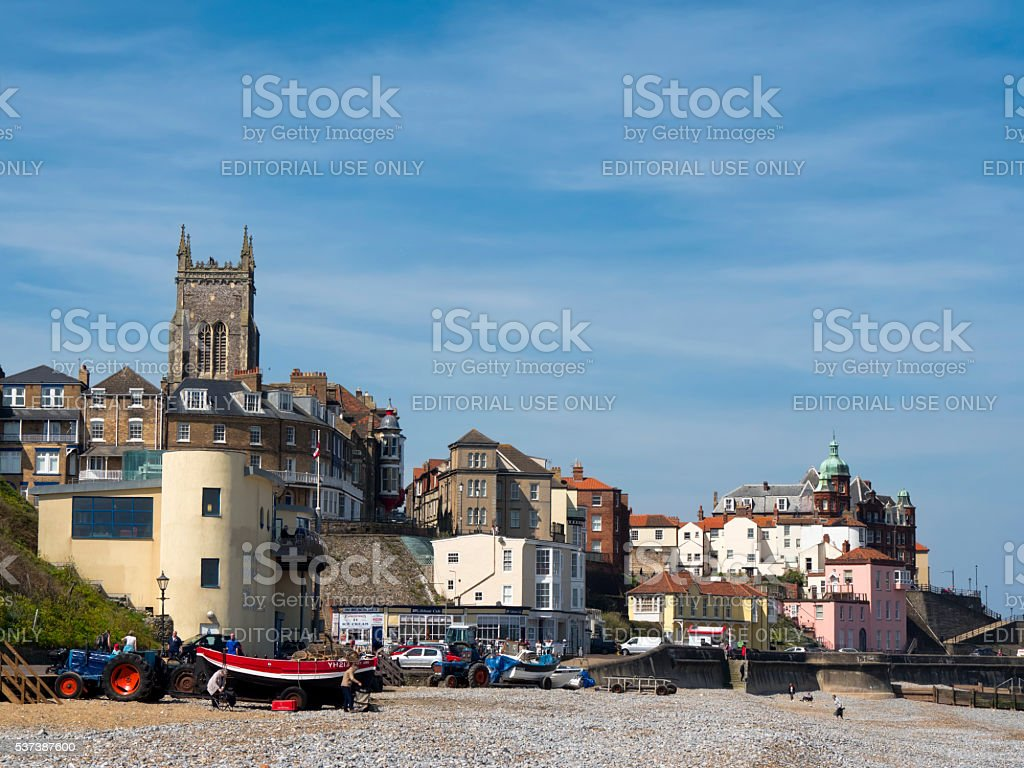 Cromer town and church from the beach stock photo