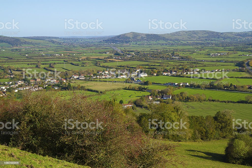 Crook Peak from Brent Knoll hill Somerset England UK countryside stock photo