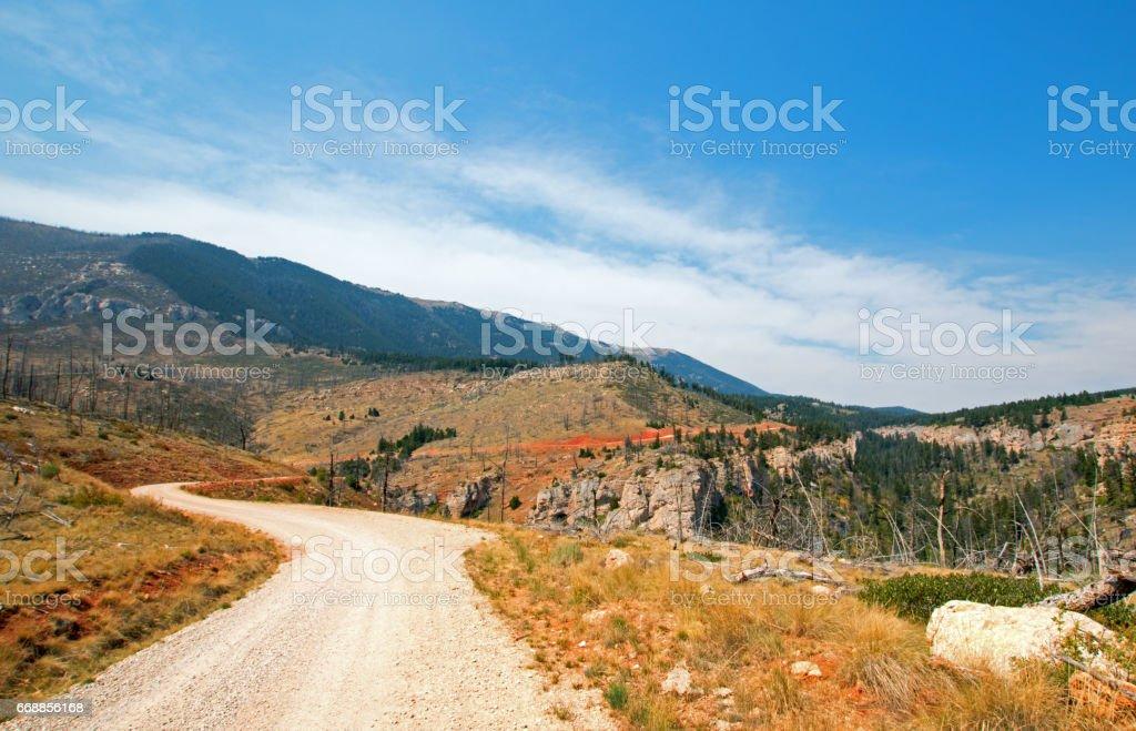 Crooked Creek Road through the Pryor Mountains in Montana USA stock photo