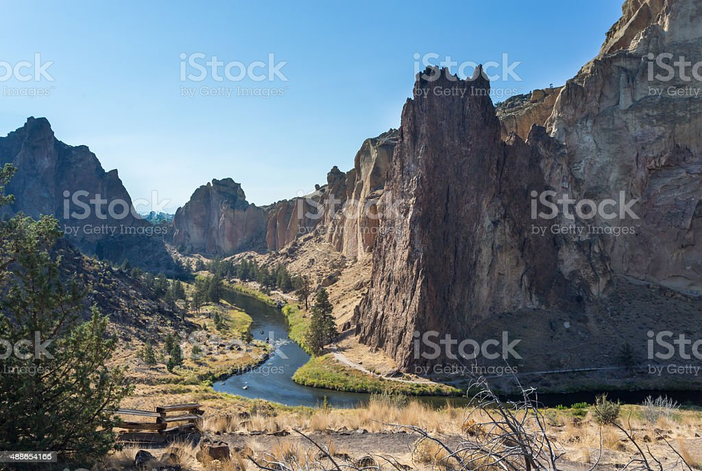 Crooked River in Smith Rock state park in Oregon stock photo
