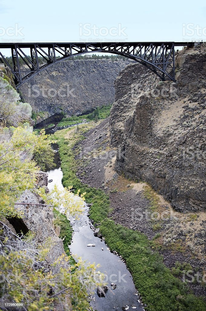 Crooked River Railroad Bridge with river below. stock photo