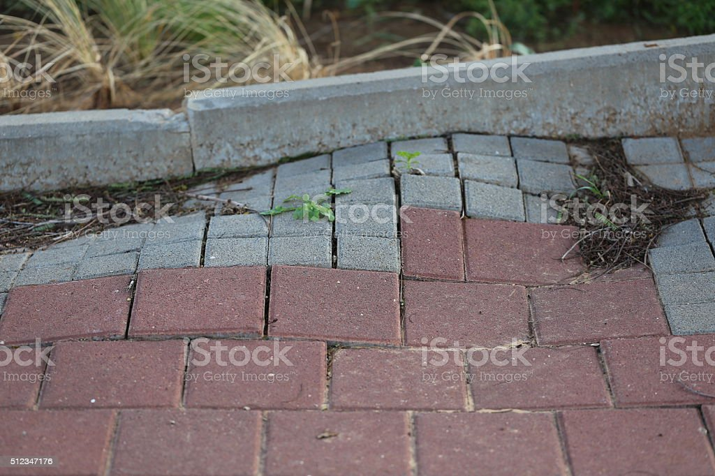 Crooked Sidewalk stock photo