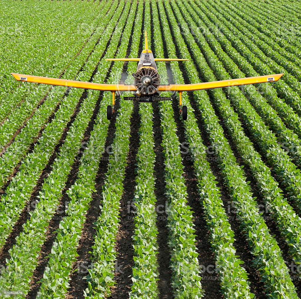 Crop Duster Aircraft spraying crops with aerial application stock photo