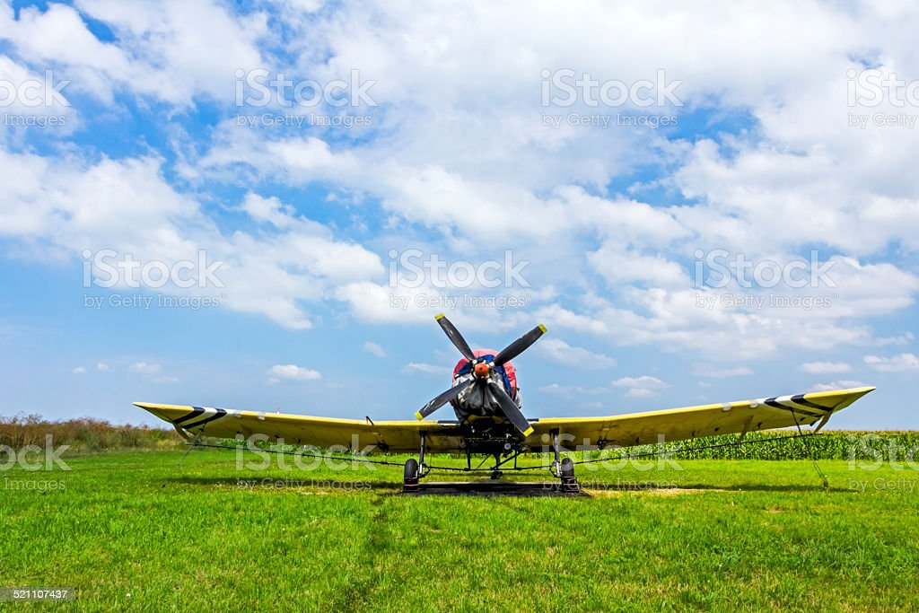 Crop duster airplane on airfield stock photo