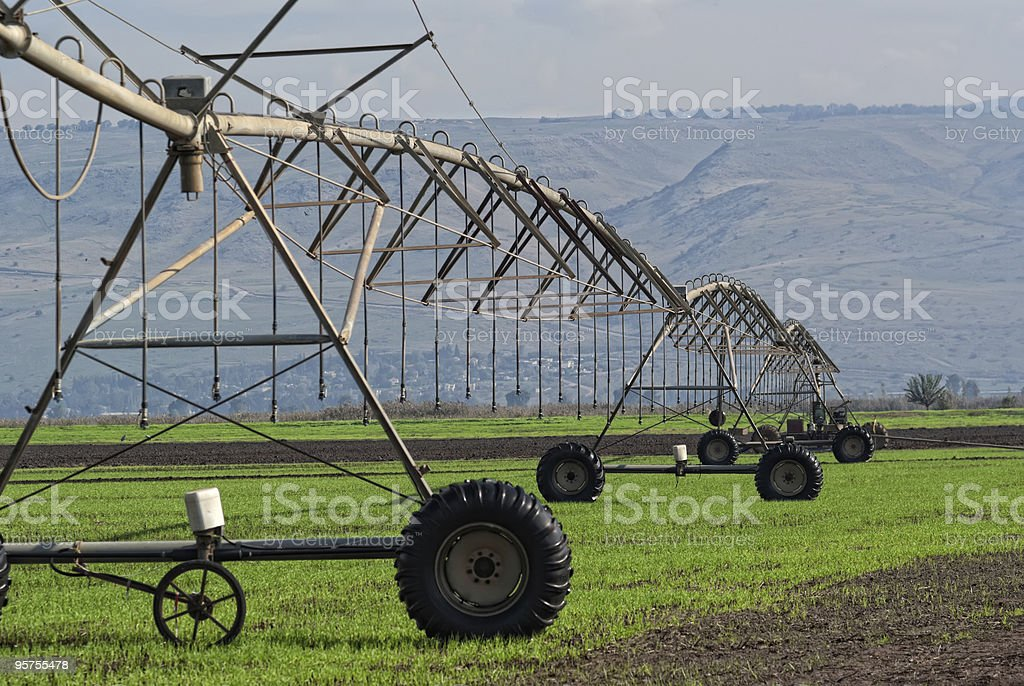 Crop irrigation system,  Golan Heights, Israel royalty-free stock photo