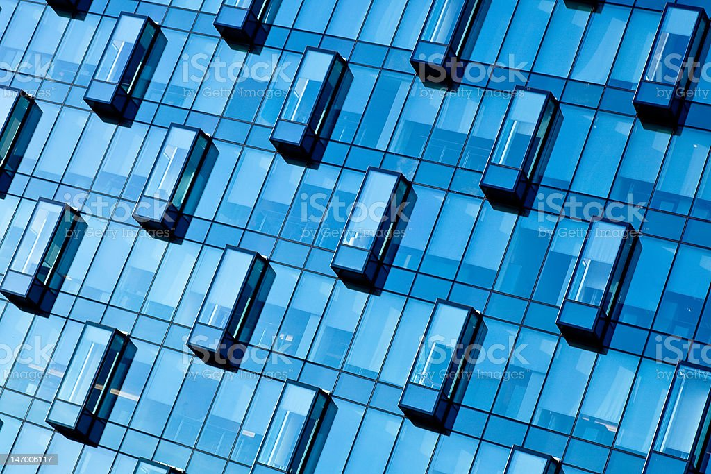 Crop of blue wall new transparent business center royalty-free stock photo