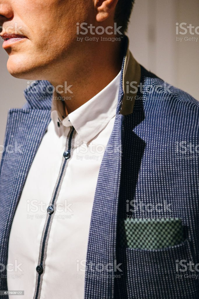 Crop young businessman in formal suit stock photo