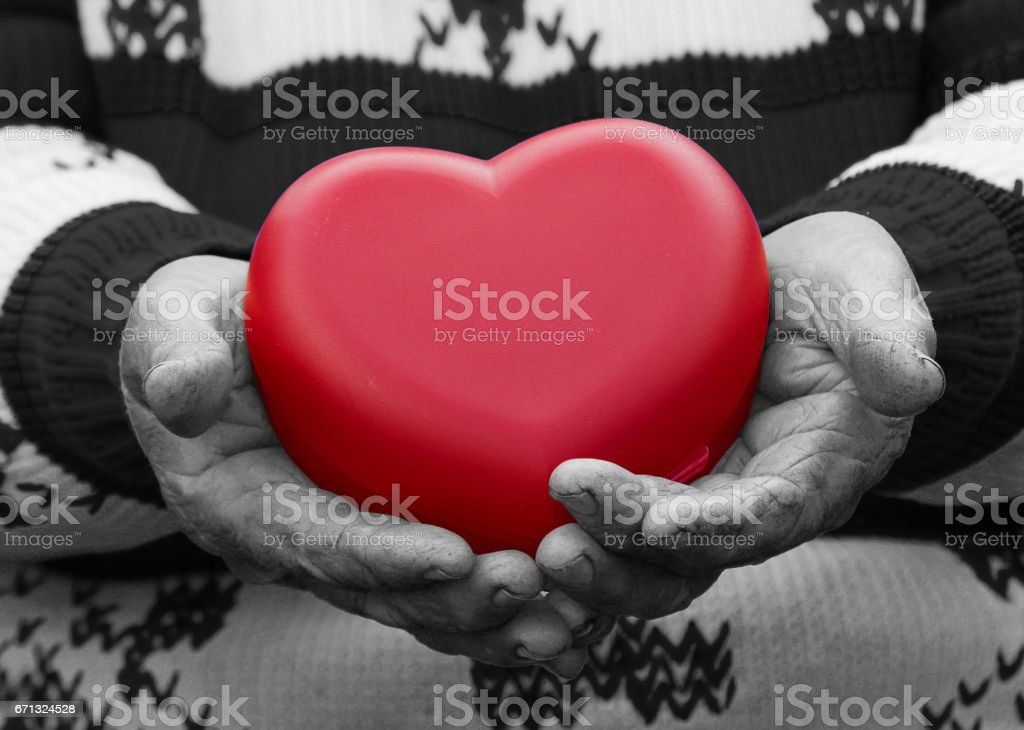 cropped, black white image, hands senior, elderly woman, grandmother holding red heart in hands, stock photo