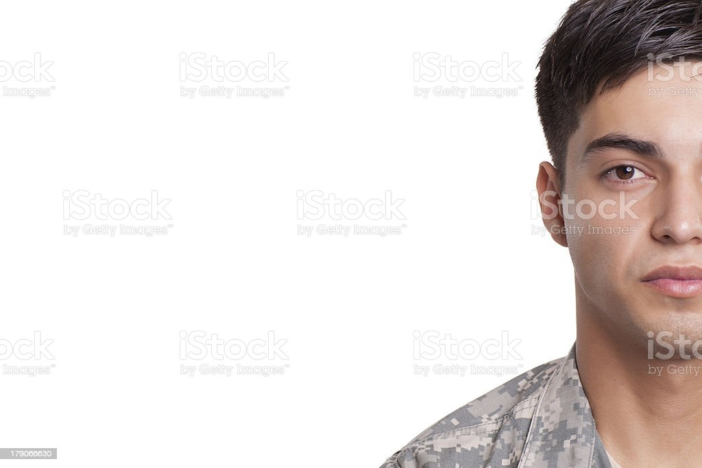 Cropped image of a soldier royalty-free stock photo