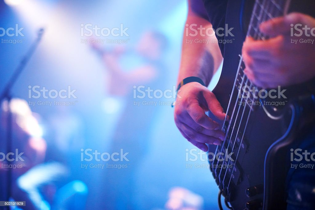 Slapping the bass stock photo