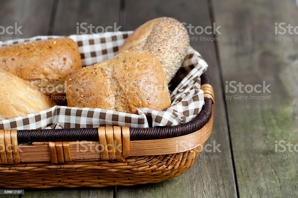 cropped image of assorted bread in basket stock photo