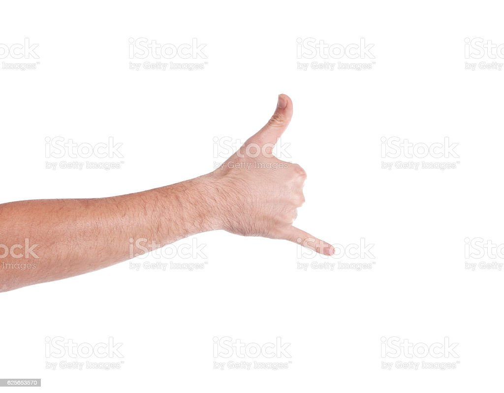 Cropped Image Of Person Showing Shaka Sign Against White Backgro stock photo