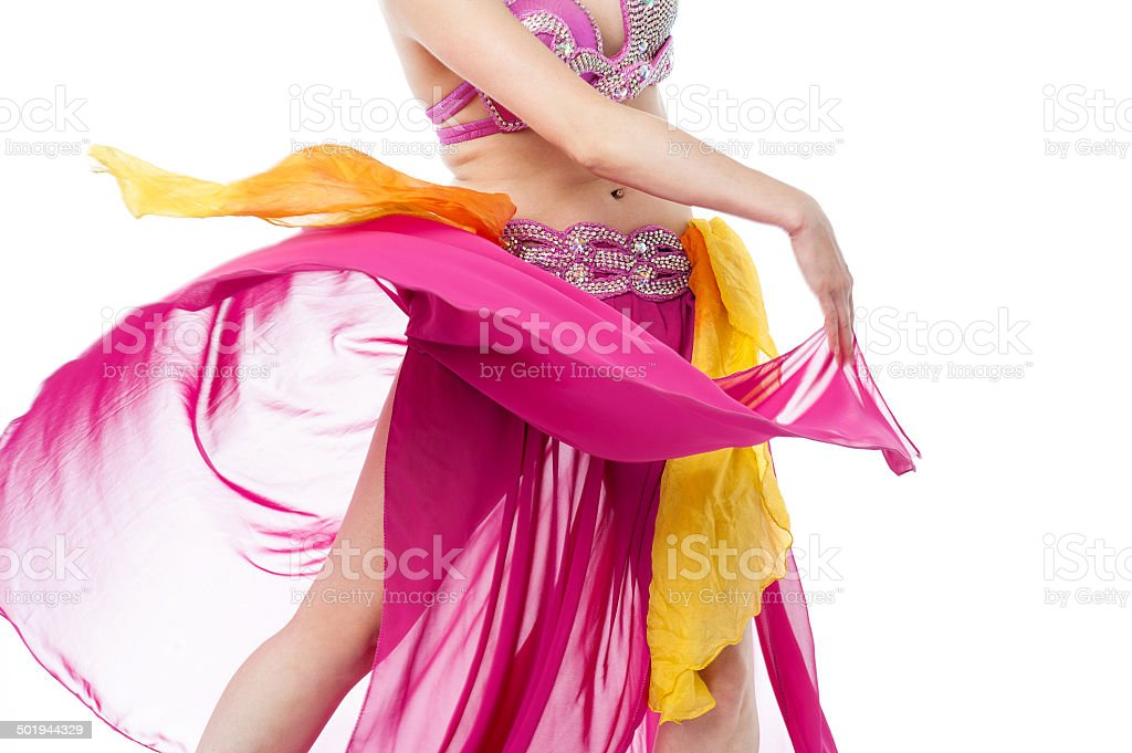 Cropped image of young female belly dancer stock photo