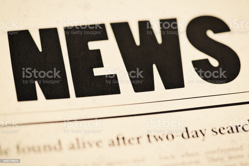 Cropped newspaper front page with part of headline story stock photo