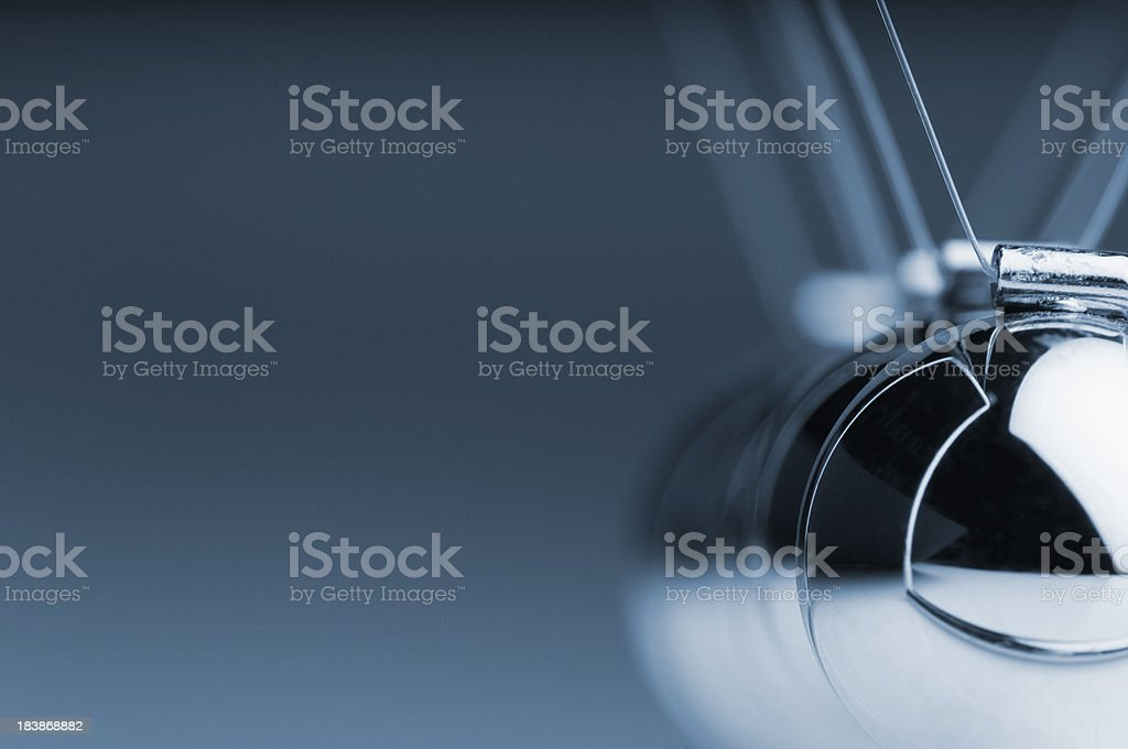 Cropped Newton's cradle with empty copy space stock photo